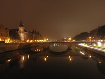 Paris by night. Seine river in Paris by night Stock Photos