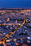 Paris by night from above. From the Tour the Mont Parnasse Royalty Free Stock Photography