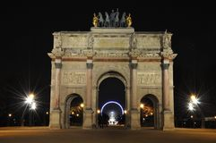 Paris By Night: Arc de Triomphe At the Place du Carrousel Stock Image