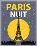 Paris night. Banner with Paris, Eiffel Tower at night under the moon Royalty Free Stock Photos