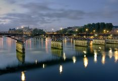 Paris by night, the bridge on the Seine with a vie Stock Image