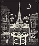 Paris night cafe. Figure Parisian cafe with a view of the Eiffel Tower at night under the moon Royalty Free Stock Image