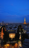 Paris at night with Eiffel tower. View of Paris at night with Eiffel tower in light Stock Image
