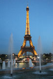 Paris by night: the Eiffel tower. The famous Eiffel Tower with illumination  in Paris Stock Images