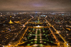 Paris at night from the Eiffel tower. View of Paris, France at night from the Eiffel Tower Stock Photo
