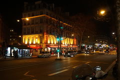 Paris at night. In January, the New Year Holydays Royalty Free Stock Photography