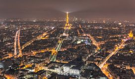 Paris night landscape eiffel tower from hight royalty free stock photos