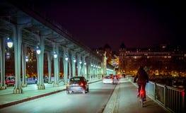 Paris at night near bridge Royalty Free Stock Photos