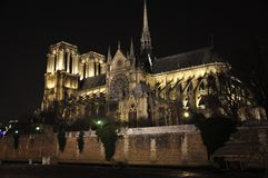 Paris By Night: Notre Dame Cathedrale Royalty Free Stock Image