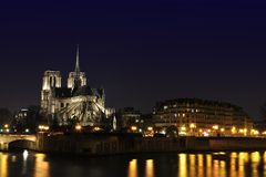 Paris By Night: Notre Dame Cathedrale Royalty Free Stock Photos