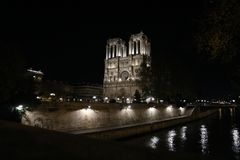 Paris by night, Notre Dame. The famous cathedral of Paris at night, in the Christmas period 2017, november Royalty Free Stock Photos