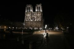 Paris by night, Notre Dame royalty free stock photography