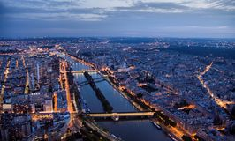 Paris at night seen from 300 m above ground stock photos