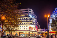 Paris at night. Shopping mall Galeries Lafayette outdoors, night time. Paris, France Stock Photography