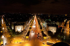 Paris at night. Shot from top of Arc de Triomphe Stock Photo