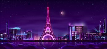 Paris night streets cartoon vector background royalty free illustration