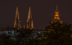 Paris 7. Night time shot of cathedral spires and dome in Paris Royalty Free Stock Photos
