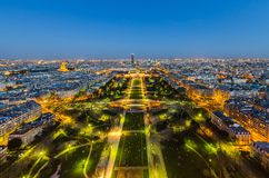 Paris at night. View from Eiffel tower Royalty Free Stock Photography