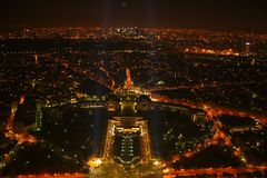 Paris night view from Eiffel Tower stock images