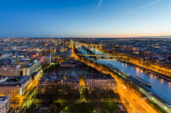 Paris at night view from Eiffel tower. With  Seine River Royalty Free Stock Images