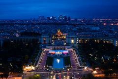 Paris. Night View From Eiffel Tower To La Defance Royalty Free Stock Photography