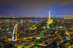 Paris night view from Montparnasse tower Eiffel tower in twiligh. T Royalty Free Stock Photography