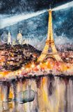 Paris at night watercolors painted Royalty Free Stock Photos