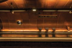 Arts et Metiers subway station platform covered by copper sheets in Paris. Paris, northern France - July 09, 2017. Arts et Metiers subway station platform royalty free stock image