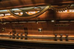 Arts et Metiers subway station platform covered by copper sheets in Paris. Paris, northern France - July 09, 2017. Arts et Metiers subway station platform royalty free stock photo