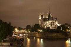 Paris - Notre Dama cathedral and riverside Stock Photo