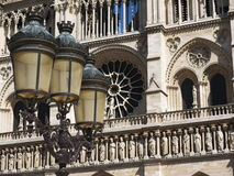 Paris, Notre-Dame. Streetlamp with the Notre-Dame cathedral in the background, Paris, France royalty free stock image