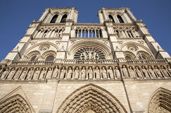 Paris - Notre Dame cathedral. Paris - west facade of Notre Dame cathedral Stock Photo