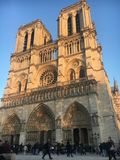 Paris, Notre Dame. Notre Dame cathedral in Paris, blue sky and sunny day crowded with tourists Stock Photography