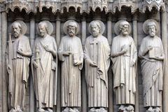 Paris, Notre-Dame cathedral, detail of central portal Royalty Free Stock Image