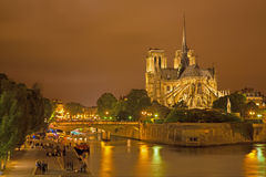 Paris - Notre-Dame cathedral in night Royalty Free Stock Photography