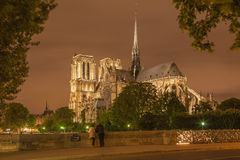 Paris - Notre-Dame cathedral at night. Stock Photos