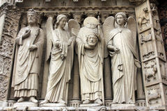 Paris, Notre-Dame Cathedral, Portal Of The Virgin Stock Images