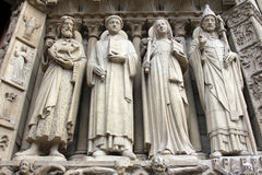 Paris, Notre-Dame cathedral, portal of the Virgin Royalty Free Stock Images