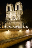 Paris Notre Dame Cathedral  and the Seine river Stock Image