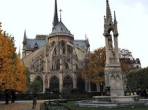 Paris - Notre Dame Cathedral by Square Jean XXIII Stock Image