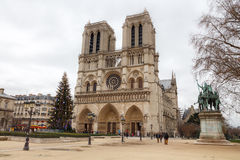 Paris. Notre Dame. Christmas. Paris, France - December 19, 2014: The area around the Cathedral of Notre Dame with the Christmas tree Royalty Free Stock Images