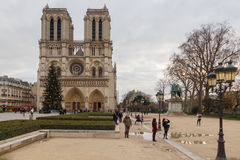 Paris. Notre Dame. Christmas. Paris, France - December 20, 2014: The area around the Cathedral of Notre Dame with the Christmas tree Stock Photos