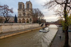 Paris. Notre Dame. Christmas. Paris, France - December 20, 2014: The area around the Cathedral of Notre Dame with the Christmas tree Stock Image