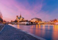 Paris. Notre Dame. Notre Dame de Paris and the river Seine at sunset Stock Photo