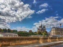 Paris notre dame. Notre dame de paris taken from the other side of the seine river Stock Photo