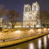 Paris Notre Dame at dusk Stock Photography