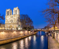 Paris Notre Dame at dusk Royalty Free Stock Photography