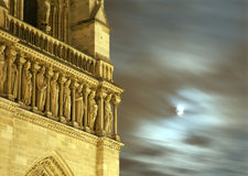 Paris - Notre-Dame facade and moon Stock Photos