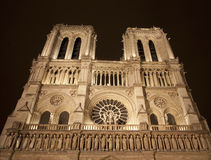 Paris - Notre Dame at night. Paris - Notre Dame west facade at night Royalty Free Stock Photo
