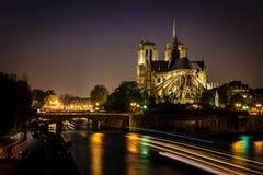 Paris Notre-Dame at Night Stock Photos